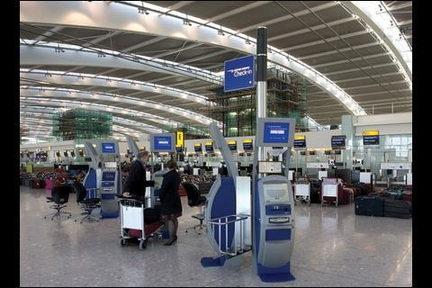 Just some of the 140 check-in desks.